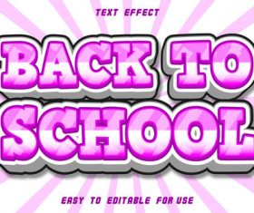 Editable text effect back to school vector