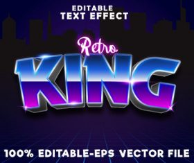 Editable text effect retro king with retro 80s style vector