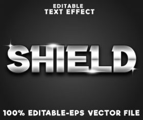 Editable text effect shield with luxury style vector