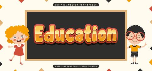 Education editable vector text effect vector