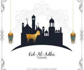 Eid al adha black and white silhouette vector