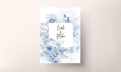 Elegant blue floral wedding invitation template vector