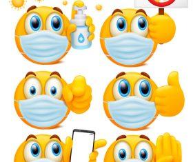 Emoji mask set vector