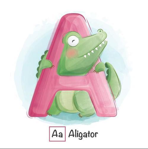 English word and animal cartoon vector