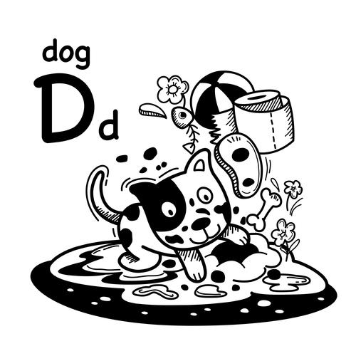 English word dog cartoon illustration vector