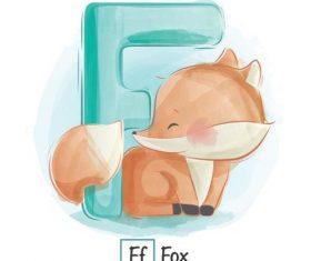 F english word cartoon vector