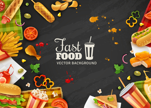 Fast food black background poster vector