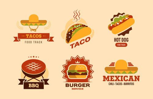 Fast food flat logo illustration collection vector