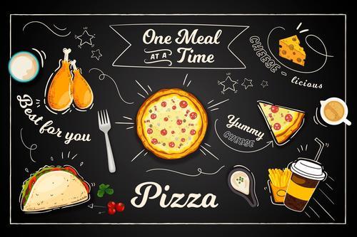 Fast food mural wallpaper vector