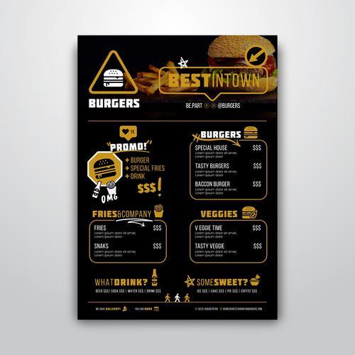 Fast food restaurant menu vector