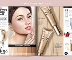 Female cosmetics magazine cover vector