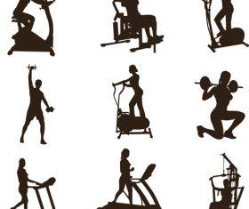 Female fitness silhouette vector