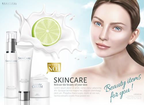 Female skin care advertisement vector