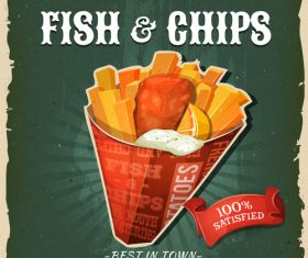 Fish and chips flyer vector