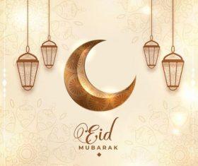Floral pattern background Eid mubarak card vector
