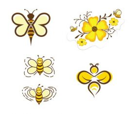 Flower and bee logo vector