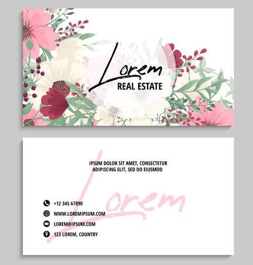 Flower background business card vector