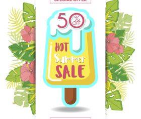 Flower background summer ice cream sale flyer vector