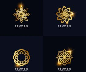 Flower gold abstract logo vector