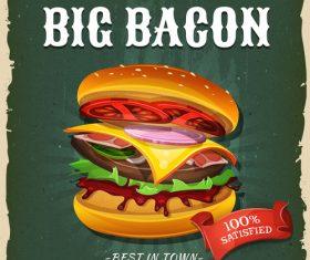 Flyer big bacon burger vector