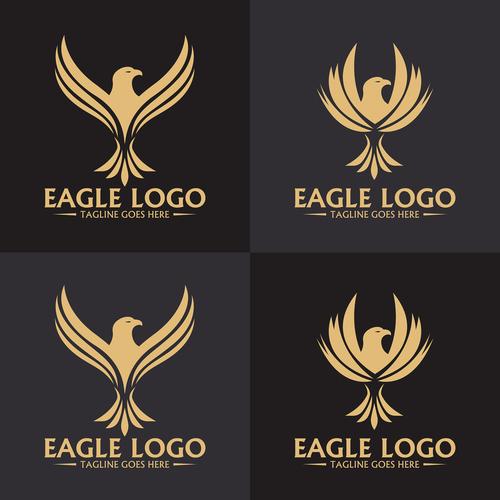 Four eagle logo design vector