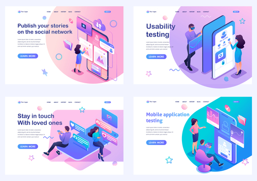 Four science and technology flat design vector