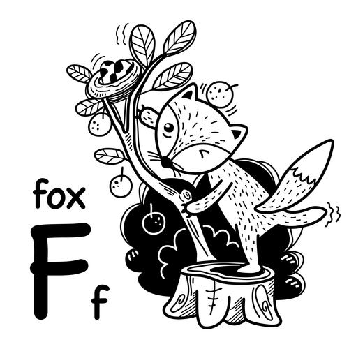 Fox english word cartoon illustration vector