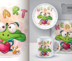Frog in love cartoon sale mockup print for t-shirt vector