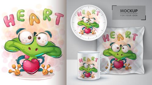 Frog in love cartoon sale mockup print for t shirt vector