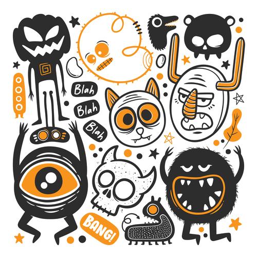 Funny monster illustration vector