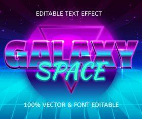 Galaxy space style retro editable text effect vector