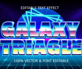 Galaxy triiagle style retro editable text effect vector