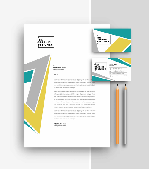 Geometric pattern business letterhead and business card vector