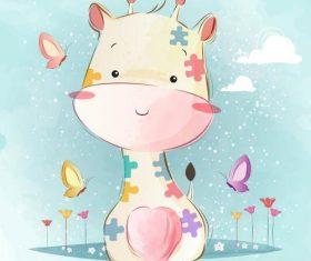 Giraffe baby cartoon vector