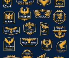 Gold birds logo collection vector