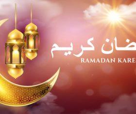 Golden crescent moon background Ramadan kareem card vector