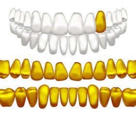 Golden dental implant vector