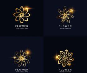 Golden flower abstract logo vector