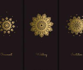 Golden mandala pattern vector on black background