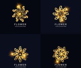 Golden shiny flower logo vector