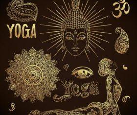 Golden yoga element illustration vector