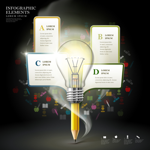 Good idea education infographic option background vector
