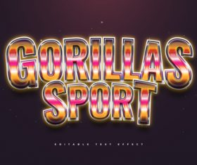 Gorillas sport 3d editable text style effect vector