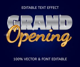 Grand opening style luxury editable text effect vector