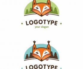 Green and blue fox logo design vector