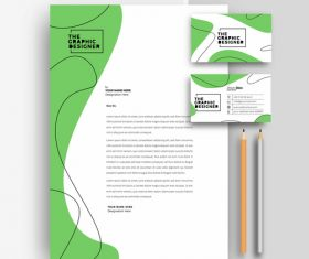 Green business letterhead and business card vector