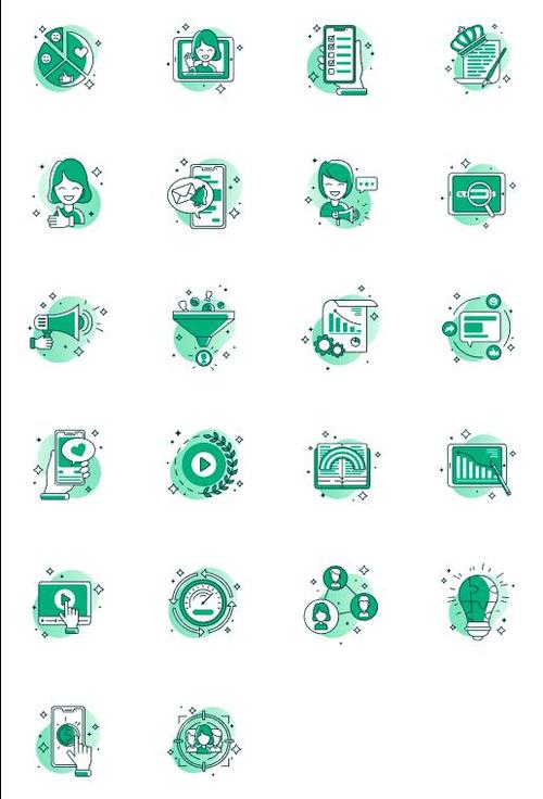 Green color icons vector