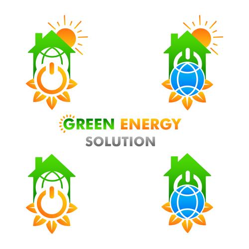 Green energy solution logo vector