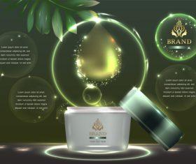Green essence cosmetics advertisement vector
