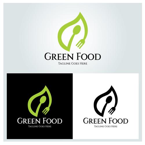 Green food logo design vector